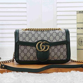 GUCCI Women Fashion Leather Chain Crossbody Shoulder Bag Satchel