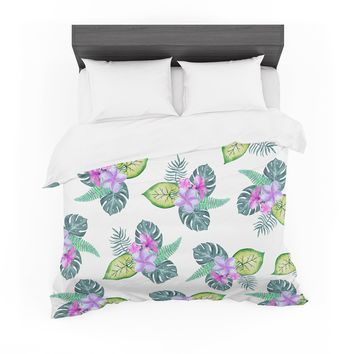 "Sylvia Cook ""Tropical Flowers"" Green Pink Floral Nature Watercolor Digital Featherweight Duvet Cover"