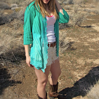 Turquoise Green Ombre Dyed Cover Up - Shawl - Lace Edges - Sea Foam Green - Turquoise Blue - Country Style Clothing