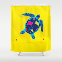 Paper Craft Sea Turtle Shower Curtain by Steel Graphics | Society6