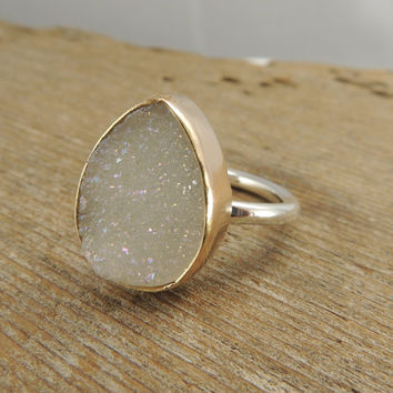 Druzy 14k Rose Gold & Sterling Silver Ring by PointNoPointStudio