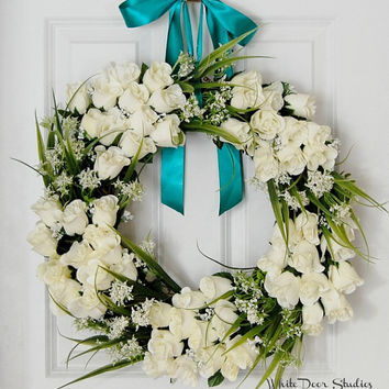 White Rose Wreath, Wedding Wreath, Front Door Wreath, White Dove Wreath, Church Door, Spring Wreath, Wedding Shower