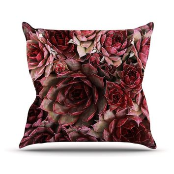 "Debbra Obertanec ""Red Succulents"" Maroon Outdoor Throw Pillow - Outlet Item"