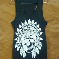 Indian skull Racerback tank tops Cotton White / Black shirt native skull tank top S M L XL sleeveless top/ singlet/ tshirt/ festival wear
