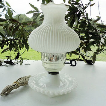 Vintage white milk glass hurricane lamp