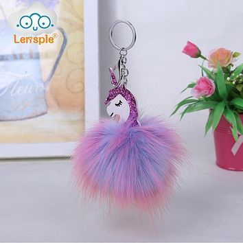 Lensple Colorful Fluffy Unicorn Pompom Faux Rabbit Fur Key Bag Chain Bag Ring Best Gifts For Girl Ladies
