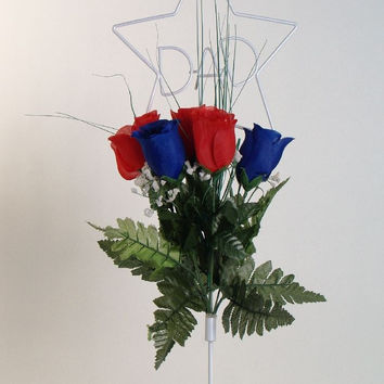 Dad Wire Stand with Red and Blue Roses