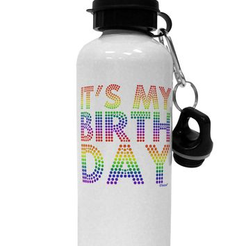 It's My Birthday - Candy Colored Dots Aluminum 600ml Water Bottle by TooLoud