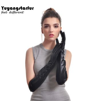New autumn winter women's real leather sheepskin ladies long gloves and long gloves