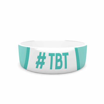 "KESS Original ""Throw Back Thursday"" Teal White Pet Bowl"