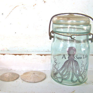 Blue Mason Jar Shabby Beach Cottage Octopus Chic Glass Vase Beach House Recycled Glass Bottle