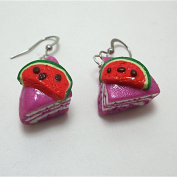 Watermelon Cake Polymer Clay Earrings by moonknightjewels on Etsy