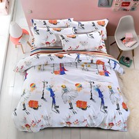 summer style Paris street bedding sets cotton Duvet Cover/bed sheet/Pillowcase not quilt  Queen  Twin full