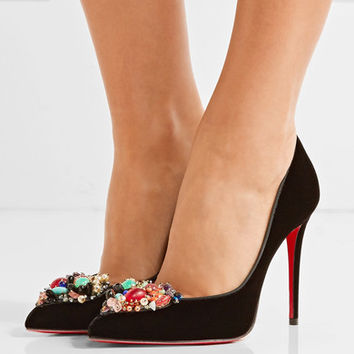 Christian Louboutin - Iva Cora embellished velvet point-toe pumps