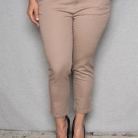 Color Swatch Plus-Size Cuffed Pants With Faux Leather Belt - Mocha