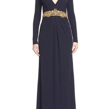 Couture Embellished Waist Plunging V-Neck Jersey Gown