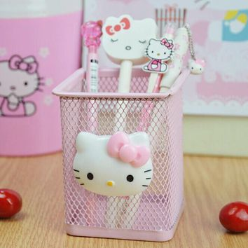 Cute Kawaii Hello Kitty Metal Stationery Storage Box Household Manage Case Pencil Pen Holder Stand Student Stationery
