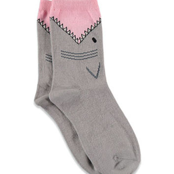 Shark-Patterned Crew Socks