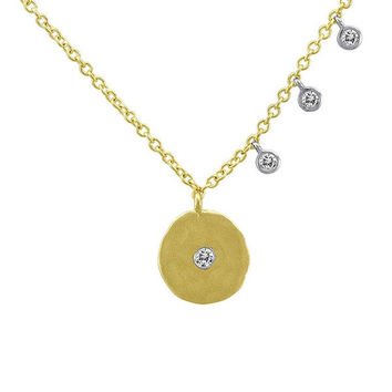 Yellow Gold Disc Necklace with Bezel Set Diamonds