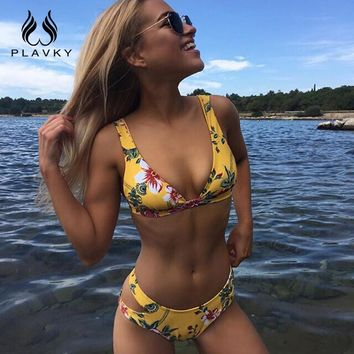 PLAVKY 2018 Sexy Yellow Floral Bandage Biquini Swim Wear Bathing Suit Swimsuit Thong Swimwear Women Brazilian Push Up Bikini Set