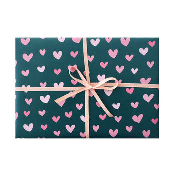 Pink and Green Hearts Wrapping Sheets
