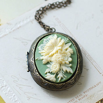 Large Cameo Locket Necklace. Ivory Cream Sage Green Cameo Antique Brass Locket Necklace. Long Chain, Vintage Inspired