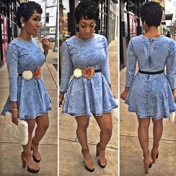 Streetstyle  Casual Denim Blue Plain Round Neck Long Sleeve Cute Homecoming Mini Dress