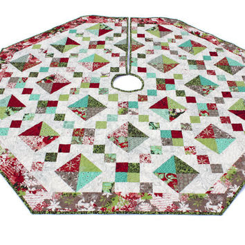 Quilted Christmas Tree Skirt, Jewel Box Tree Skirt, Moda Basic Grey Blitzen Christmas Quilt