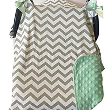 Carseat Canopy Cover by My Little Baby Bug | Andrew pattern with 100% Cotton Chevron and Light Green Polyester Minky Dot for Boy or Girl | Baby Shower Gift