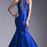 Halter Mermaid Prom Gown Cut-Out Ruffled Back Royal Blue