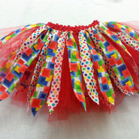 Birthday tutu ~ 1 to 2 years tutu ~ Shabby tutu  ~ Scrap tutu ~ Circus tutu ~ Clown tutu ~ Primary colors tutu ~ Red tutu ~ Birthday girl