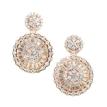 Rose Gold Deco Disk Earrings