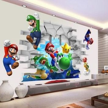 Super Mario party nes switch 3d View cartoon Art Wall Stickers Wall  Bros Boy Room Kids Art Decal Mural Kids Nursery Decals Home Decor AT_80_8