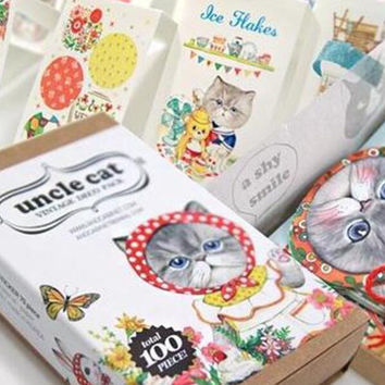 Box Package Uncle Cat Decorative Stickers Diary Sticker Scrapbook Decoration PVC Stationery Stickers with Bookmark Mini Card