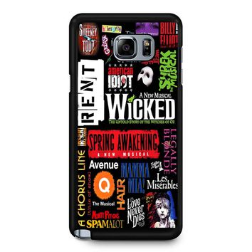 Famous Broadway Musiacal Plays Collage Samsung Galaxy Note 5 Case