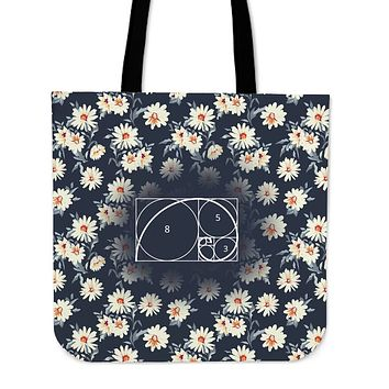 Floral Golden Ratio Linen Tote Bag