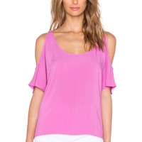 C&C California Cold Shoulder Top in Rosebud
