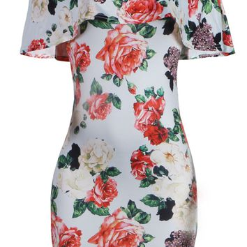 Streetstyle  Casual Off Shoulder Flounce Floral Printed Bodycon Dress