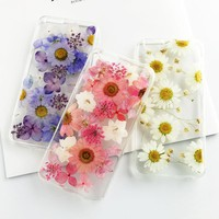 Dried Real Flower Case For iPhone 5S Case Vintage Handmade Clear Pressed Protective Back Cover For iPhone 7 Case 5S 6 6S 7 Plus