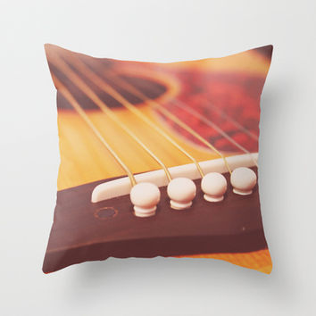 Guitar love Throw Pillow by Courtney Burns