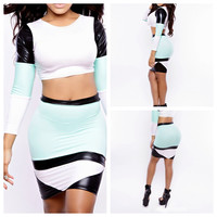Blue and White with Leather Accent Long Sleeve Cropped Top and Bodycon Skirt Set