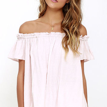 Portrait Painter Blush Off-the-Shoulder Top