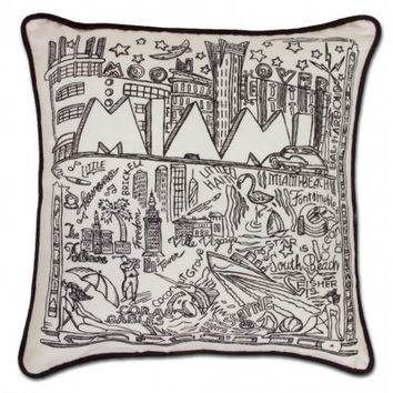 Miami Black and White Embroidered Pillow