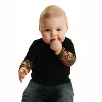 Infant Baby Body 2017 Summer Fashion Rock Design Tattoo Baby Bodysuit for Baby Boys Girls Baby New Mesh Tattoo Sleeve Bodysuit