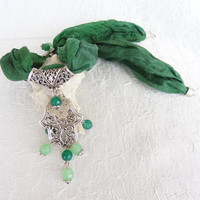 Hamsa-Hand of Fatima Necklace, Green Jade, Green Silk Necklace-Silver Plated