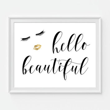 Hello Beautiful Art Print, Fashion Quote, Bathroom Wall Decor, Faux Gold Lips, Makeup Art, Lips Art, Fashion Art, Girly Decor, Salon Art