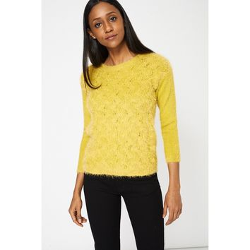 Yellow Fluffy Jumper Ex-Branded