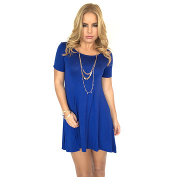 Seams Right Jersey Dress In Royal Blue