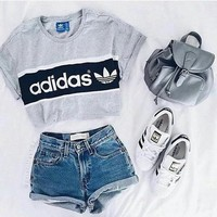 """Adidas"" Fashion Short Shirt Crop Top Tee Blouse"