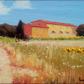 Italian painting Tuscany landscape sunflowers original oil on canvas of Leonardo Casali Italy Italia Toscana Paesaggio dipinto
